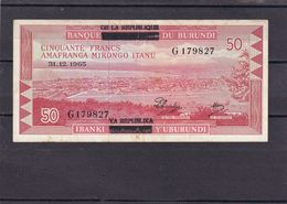 Burundi 50 Fr 1965   Rare Overprint  AU - Burundi