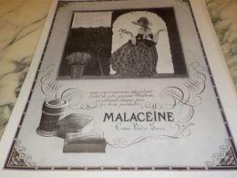 ANCIENNE PUBLICITE  CREME POUDRE SAVON  MALACEINE 1925 - Perfume & Beauty