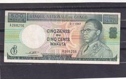 Congo Kongo  500 Makuta Or 5 Zaïres  XF 1967 Rare - Democratische Republiek Congo & Zaire