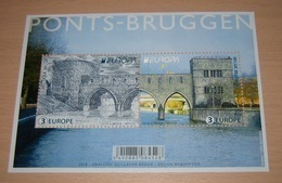 Blok 263** Bruggen / Ponts Met Zegels 4823**- 4824** Belgié 2018- **  Bridges - Brücken Europa CEPT - Blocks & Sheetlets 1962-....