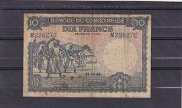 Congo Kongo  Belgian   10 Fr 1948 VG - Zonder Classificatie