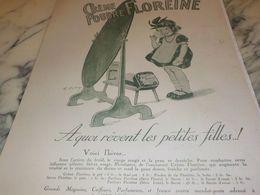 ANCIENNE PUBLICITE UNE CREME ET POUDRE FLOREINE  1925 - Posters