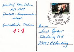 Germany 1988 Card: Football Soccer Fussball: UEFA EURO European Championship Düsseldorf Germany - Italy - Europei Di Calcio (UEFA)