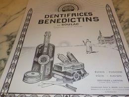 ANCIENNE PUBLICITE  DENTIFRICE BENEDICTINS DE SOULAC  1925 - Perfume & Beauty