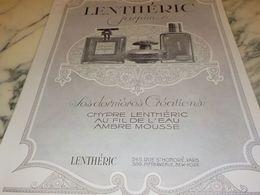 ANCIENNE PUBLICITE  DERNIERE CREATION PARFUM LENTHERIC  1925 - Perfume & Beauty
