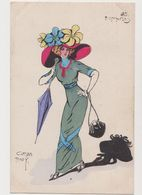 Carte Fantaisie Signée Carlos Bady  / Les Entravées / Jeune Femme .Mode .Chapeau Extravagant - Künstlerkarten