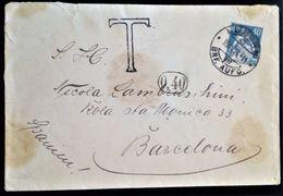 385 SWITZERLAND HELVETIA SUIZA 1924 LUZERN TAX TO SPAIN BARCELONA - Covers & Documents