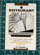 Pubblicità Minicards Restaurant LINDENBRAU Berlino GERMANIA - Altre Collezioni