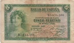 Espagne : 5 Pesetas 1935 (moyen état) - [ 2] 1931-1936 : Repubblica