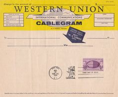 ATLANTIC CABLE CENTENARY 1858 - 1958. UNITED STATES POSTAGE FDC, WESTERN UNION CABLEGRAM -LILHU - 1951-1960