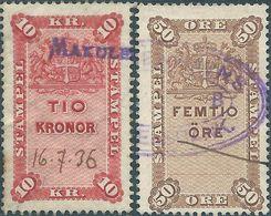 DANIMARCA-DANMARK, Revenue Stamps 10kr. & 50 Ore - Used - Fiscali