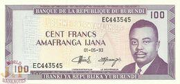 BURUNDI 100 FRANCS 1993 PICK 29c UNC - Burundi