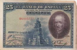 Espagne : 25 Pesetas 1928 (mauvais état) - [ 1] …-1931 : Primeros Billetes (Banco De España)