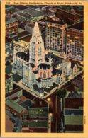 Pennsylvania Pittsburgh East Liberty Presbyterian Church At Night 1949 Curteich - Pittsburgh