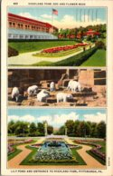 Pennsylvania Pittsburgh Highland Park Zoo Entrance Flower Beds & Polar Bears 1944 Curteich - Pittsburgh