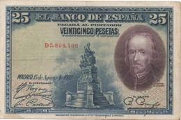 Espagne : 25 Pesetas 1928 (bon état) - [ 1] …-1931 : Primeros Billetes (Banco De España)