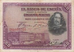 Espagne : 50 Pesetas 1928 (bon état) Prix Par Billet - [ 1] …-1931 : Premiers Billets (Banco De España)