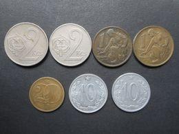 Czechoslovakia 10,20 Haleru,1,2 Koruny 1962-1980 (Lot Of 7 Coins) - Tsjechoslowakije