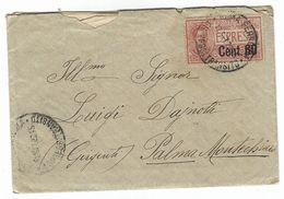 CLA472 - STORIA POSTALE DA ROMA A PALMA MONTECHIARO AGRIGENTO 1922 CON LETTERA ALL INTERNO ESPRESSO CENT 60 - Storia Postale