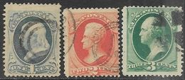 US  1879   Sc#182-4  1c/2c/3c  Used  2016 Scott Value $12 - 1847-99 General Issues