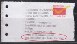 'Wear Masks, Stay Safe' Slogan On Speed Post. Receipt Of India Post, Health Disease, COVID19 Awareness, Safety, - Disease