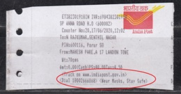 'Wear Masks, Stay Safe' Slogan On Speed Post  Receipt Of India Post, Health Disease, COVID19 Awareness, Safety, - Disease