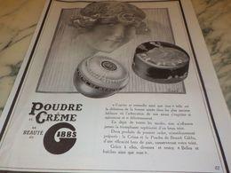 ANCIENNE PUBLICITE POUDRE ET CREME DE BEAUTE  GIBBS 1925 - Perfume & Beauty