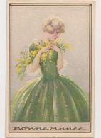 Carte Fantaisie Signée ??? Edition Degami 3096 / Jolie Jeune Femme Blonde, Fleurs , Bonne Année - Künstlerkarten