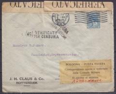 Pays-Bas - L. Affr. 12ct1/2 Flam. ROTTERDAM /7.XII 1915 Pour ATHENES - Bandes Cachets Et étiquette Censure Militaire Ita - Cartas