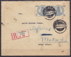 Finlande - L. Recommandée Affr. 2x 2MK Càpt GAMLAKARLEBY KOKKOLA /23.XI.1931 Pour THUSVÄLLE ? (Thysville) Réexpédiée à M - Congo Belga