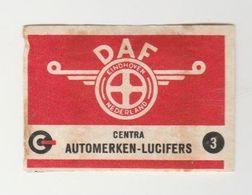 Lucifermerk: 3) Centra Automerken DAF Automobielen Eindhoven (NL) - Matchbox Labels