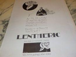 ANCIENNE  PUBLICITE PARFUM LENTHERIC 1925 - Posters