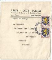 BLASON 15C PAIRE NEVERS PAIRE BANDE COMPLETE CANNES 8.2.1974 POUR SUISSE AU TARIF - 1941-66 Armoiries Et Blasons