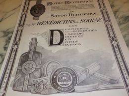 ANCIENNE PUBLICITE  DENTIFRICE BENEDICTINS DE SOULAC  1925 - Posters