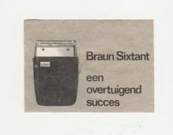 Lucifermerk: Braun Sixtant Een Overtuigend Succes (scheerapparaat-shaver-rasierapparat-rasoir) - Matchbox Labels