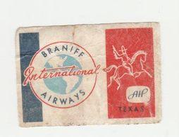 Lucifermerk Albert Heyn: 2) Braniff International Airways Texas - Matchbox Labels