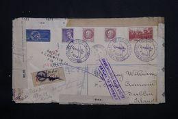 FRANCE - Enveloppe De L'Expo.de La Poste Aérienne En 1943 Pour Dublin Avec Contrôle Et Retour , à Voir  - L 64595 - Postmark Collection (Covers)