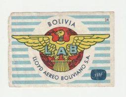 Lucifermerk Albert Heyn: 34) LAB Lloyd Aereo Boliviano S.a. Bolivia - Matchbox Labels