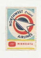 Lucifermerk Albert Heyn: 50) NORTHWEST Orient Airlines Minnesota - Matchbox Labels