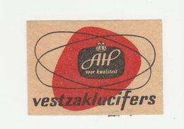 Lucifermerk Albert Heyn: AH Voor Kwalteit Vestzaklucifers - Matchbox Labels