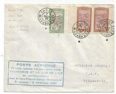 MADAGASCAR 10C PAIRE +45C LETTRE AVION IHOSY NOV 1937 + LEVEE T + POSTE AERIENNE PREMIER SERVICE POUR TANANARIVE - Madagascar (1889-1960)