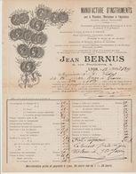RHÔNE: J. BERNUS, Tarifs Outils Agricoles, R. Penthièvre à Lyon 1899 Pour Grasse - Agricoltura