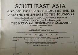 CARTE De L'ASIE Du SUD-EST - The National Geographic Magazine - Grosvenor Editor - Octobre 1944 - Cartes Géographiques