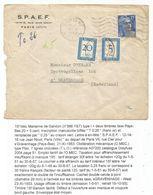GANDON 15FR BLEU TACHE SEUL LETTRE PARIS 1953 POUR NEDERLAND TAXE 20C+5C GRAVENHAGE - 1944-45 Marianne (Dulac)