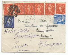 GANDON 15FR BLEU DEFECTUEUX PARIS 1954 LETTRE ENGLAND TO FRANCE REEXPEDIEE EN SUISSE - 1944-45 Marianne Of Dulac