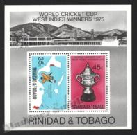 Trinidad & Tobago 1976 Yvert BF 16, Sports. World Cricket Cup, Trophy - Miniature Sheet - MNH - Trindad & Tobago (1962-...)
