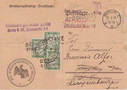 Carte Postale Police Berlin Allemagne 1934 Alsace TAXE Annulé Griffe Détaxé Strasbourg Principal Réexpédition Luxembourg - Taxes