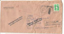 BRIAT 2FR40 SEUL LETTRE Trace De Scocht Au Dos 74 ANNECY 2.2.1996 POUR ANNECY REFUSE POUR TAXE + GRIFFE MONTANT 5FR60 - Postmark Collection (Covers)