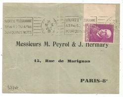 CHARCOT 90C ROSE BDF SEUL LETTRE COVER PARIS 1939 AU TARIF - Postmark Collection (Covers)