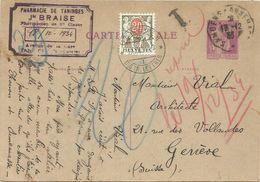 ENTIER PAIX 40C CP CONVOYEUR SAMOENS A ANNEMASSE 13.12.1933 TANINGES HAUTE SAVOIE POUR GENEVE TAXE 20C - 1932-39 Peace